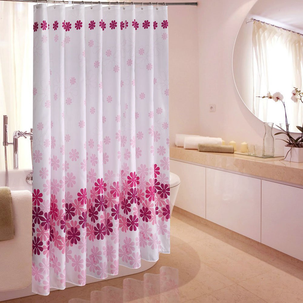 Beautiful Printed Flower Mildew Proof Waterproof Polyester Fabric Shower Curtain with Hooks Blue 180x180cm MDD Tech