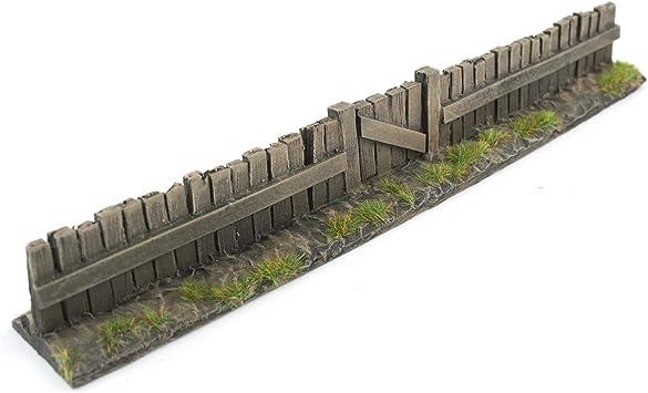 War World Gaming - Valla de Madera con Puerta Pintada x 1 - Wargaming, Escenografía Miniatura, Decorado Miniatura, Paisajismo, Modelismo Wargames, Maquetas: Amazon.es: Juguetes y juegos