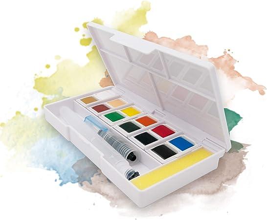 Ezigoo Boite De Peinture Aquarelle Format De Poche Boite D Aquarelle Set De 12 Demi Palettes Amazon Fr Cuisine Maison