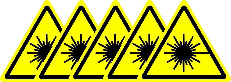S/écurit/é ISO Sign/ /Self Autocollant 100/mm x 100/mm lot de 5/stickers /avertissement Faisceau Laser Symbol/