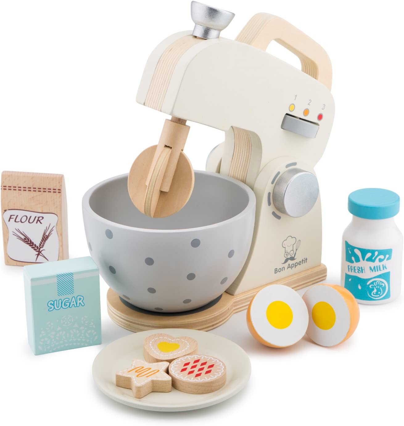 New Classic Toys Wooden Mixer Set Pretend Play Toy for Kids Cooking Simulation Educational Toys and Color Perception Toy for Preschool Age Toddlers Boys Girls