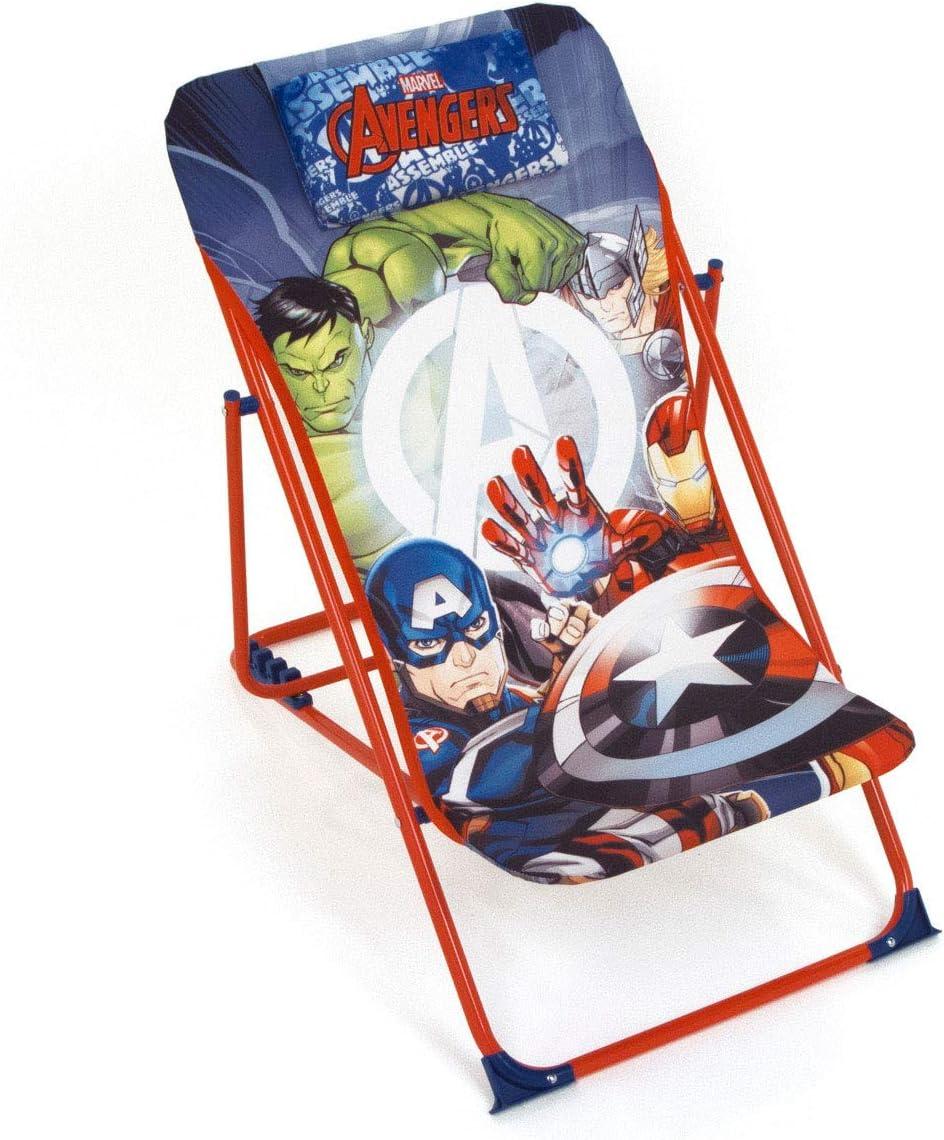 ARDITEX – Sillón de jardín/Playa Ajustable y Plegable para niños bajo Licencia Avengers en Metal, tamaño: 43 x 66 x 61 cm, Tela, 61 x 43 x 66 cm