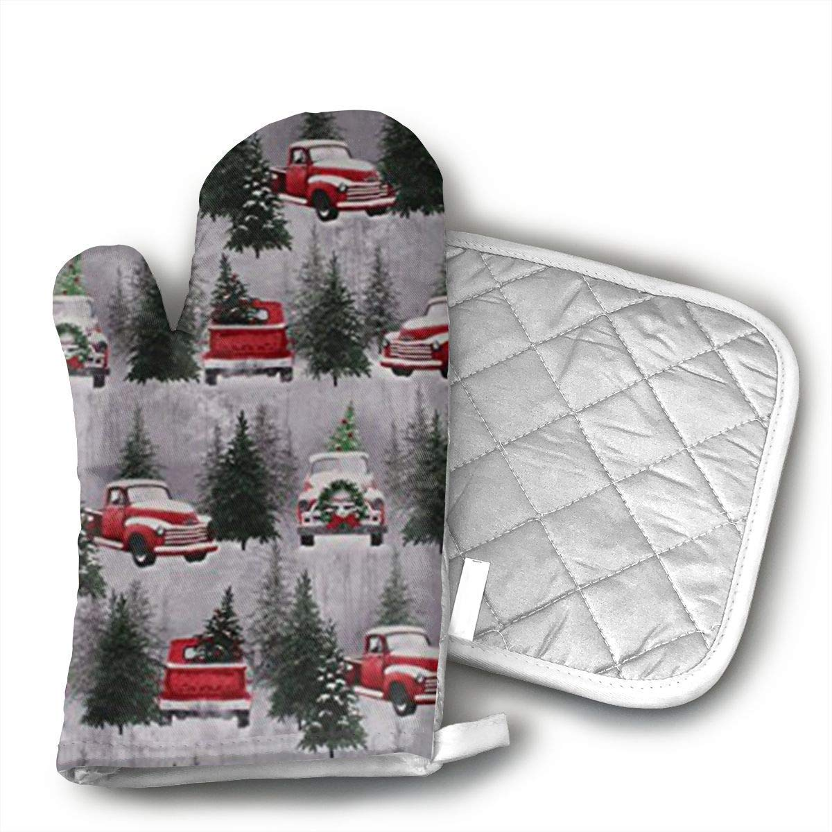 Christmas Tree Farm Trucks Retro Cotton Oven Mitts and Pot Holders Set with Polyester Cotton Non-Slip Grip, Heat Resistant, Oven Gloves for BBQ Cooking Baking, Grilling