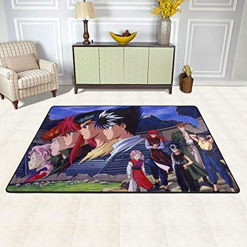 Angela R Mathews Yu Yu Hakusho Non-Slip Carpet Area Rug Modern Flannel Microfiber Anime/Cartoon Rectangle Carpet Decor Floor Rug Living Room,Bedroom,Study Floor Mat 6' X 4'