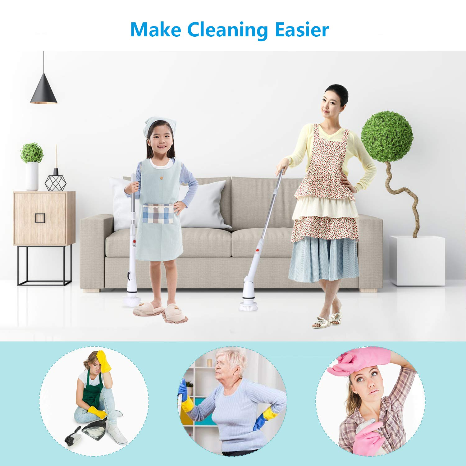 amzdeal Electric Floor Scrubber, 360 Cordless Bathroom Scrubber with 4 Replaceable Brushes and 1 Extendable Handle for Home Use