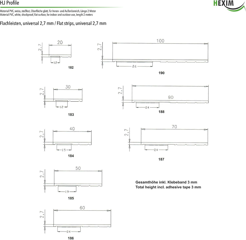 182 2 M/ètres Profil Plat Universel Largeur Assortiment PVC hexim Hj 2.7x20mm