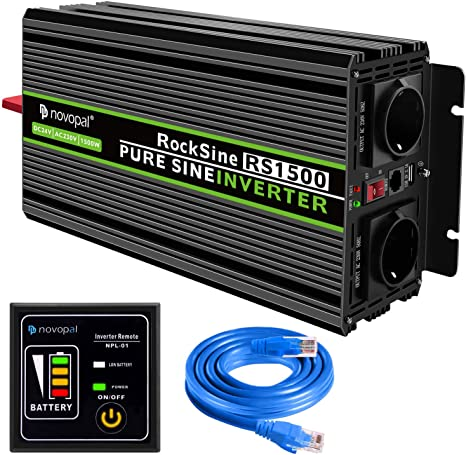 Power Inverter Pure Sine Wave-1000 Watt 12V DC to 230V//240V AC Converter-2AC EU Outlets Car Inverter with Dual USB Ports-5 Meter Remote Control And Two Cooling Fans-Peak Power 2000 Watt