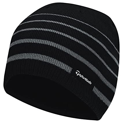 aff3fe1d TaylorMade 2017 Thermal Fleece Stripe Beanie Knitted Mens Golf Hat Black