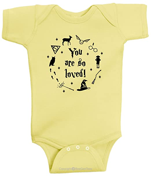 4138d497f499 Amazon.com  BeeGeeTees You are So Loved Wizard Inspired Baby Romper Boys  and Girls  Clothing