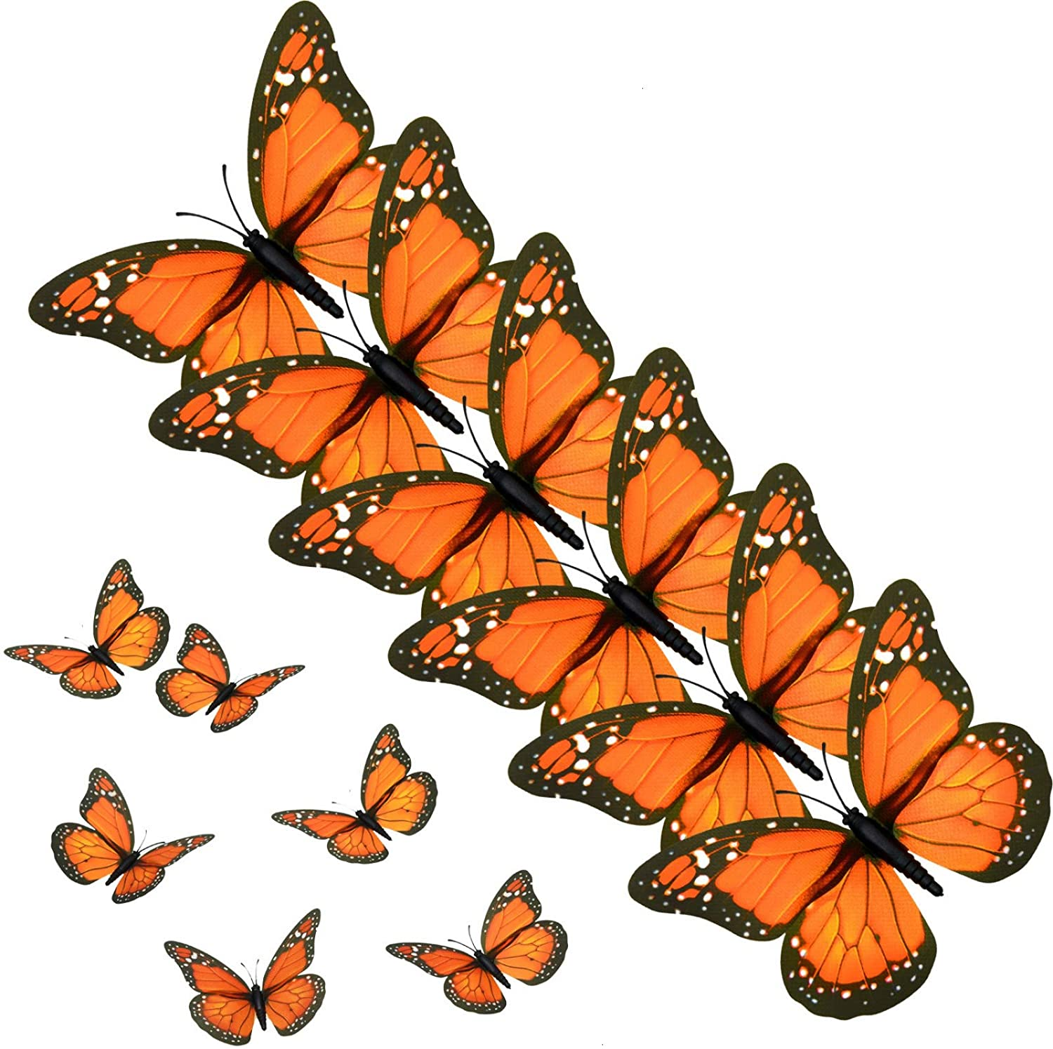 AQUEENLY Monarch Butterfly Decorations, 4.72'' Orange Premium Artificial Monarch Butterfly to Decorate for Craft, Home, Wall, Wedding, Party (12 Pcs)