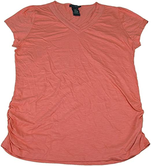 ee6f6ea81be Grace Elements Ladies Size Small Short Sleeve V-Neck Knit Top, Coral ...