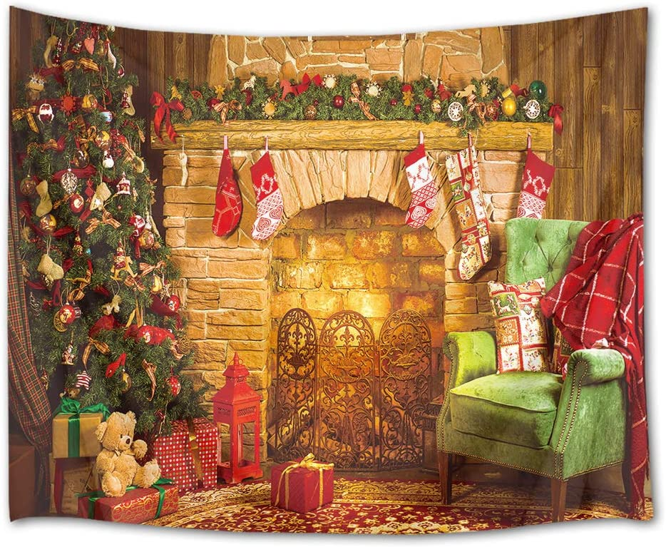 HVEST Christmas Fireplace Tapestry Xmas Ornaments Hanging on Pine Tree Wall Blanket Merry Christmas Tapestries for Bedroom Living Room Dorm Decor,92.5Wx70.9H inches