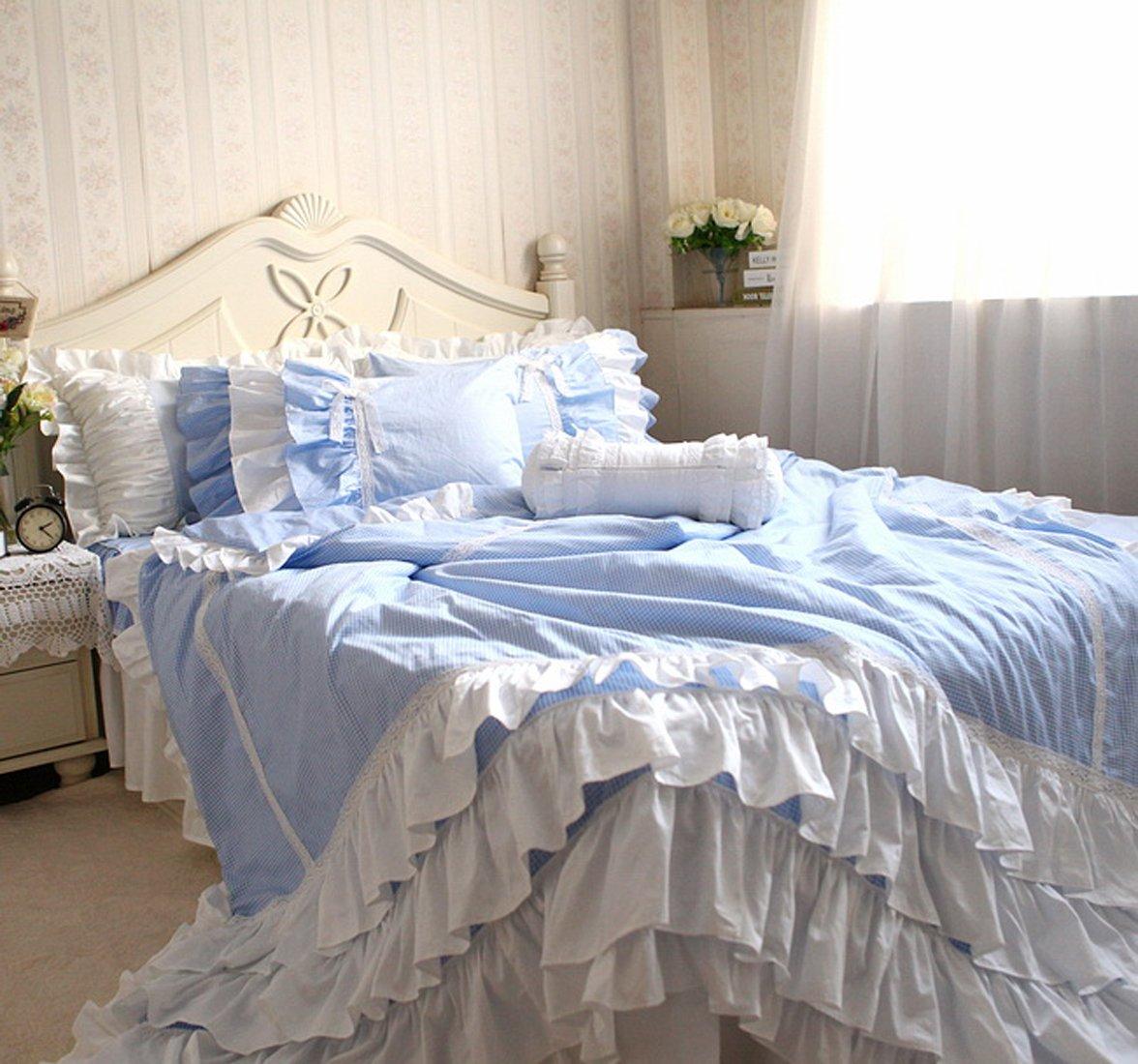 寝具カバーセット 【空のように綺麗!】綿100%多層のラッフルフリルブルー寝具カバーセット (シングル) B00L28HH0Aシングル