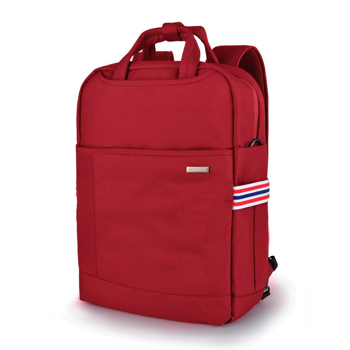 Laptop Backpack, Nylon Computer Bag, Travel Shoulder Bag, Carry Bag, Fits Under 15.6-Inch Laptop Notebook (Red)