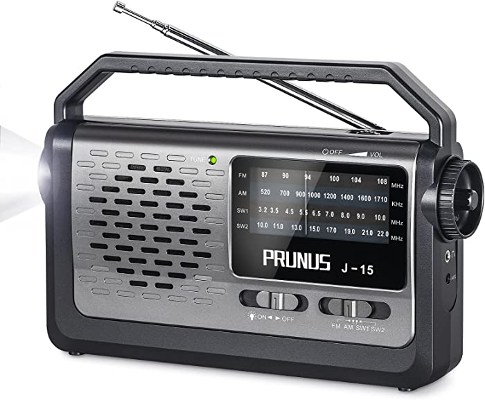Portable Shortwave Radio, FM AM SW 4 Bands Transistor Radio with Flashlight, AC Power Or Battery Operated Radio by 3X D Cell Battery with Excellent Reception, Named PRUNUS J-15