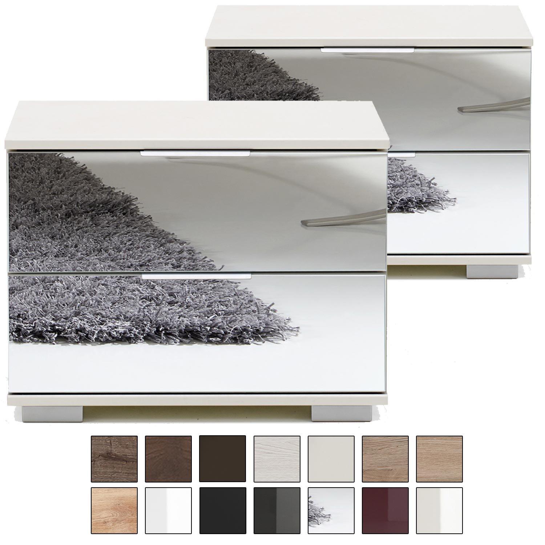 E-combuy Möbel 2er Set Nachtkommode Nigo, 2 Schubladen, Höhe 40 cm, Nachtkonsole für Futonbetten, Spiegel-Front, Weiß