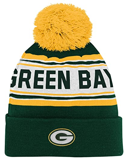 db116f57929085 Amazon.com : NFL Youth Boys Jacquard Cuffed Knit Hat with Pom : Clothing