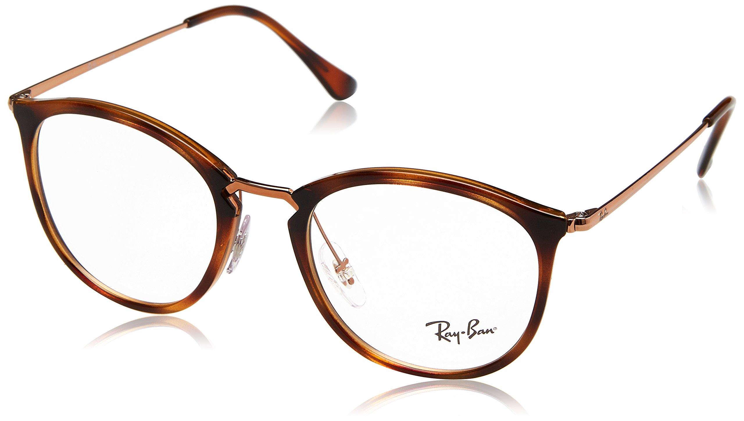 Ray-Ban RX7140 Square Eyeglass Frames, Striped Tortoise/Demo Lens, 51 mm
