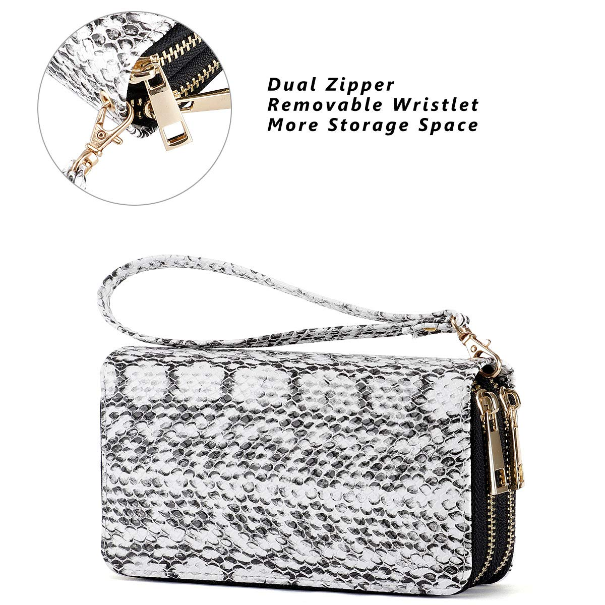 HAWEE Cellphone Wallet Dual Zipper Wristlet Purse with Credit Card Case/Coin Pouch/Smart Phone Pocket Soft Leather for Women or Lady, SnakeSkin White by HAWEE (Image #4)