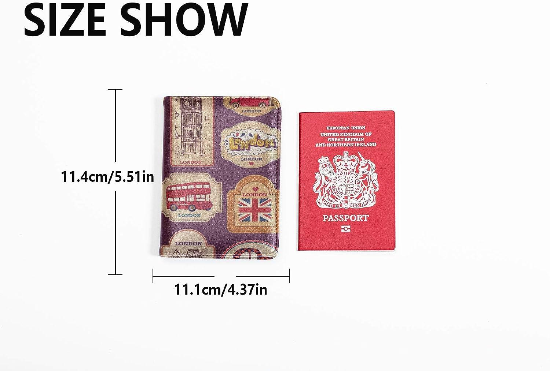 Passport Cover Girl Fashion Retro Mini Travel Sticker Passports Covers Multi Purpose Print Us Passport Case Travel Wallets For Unisex 5.51x4.37 Inch
