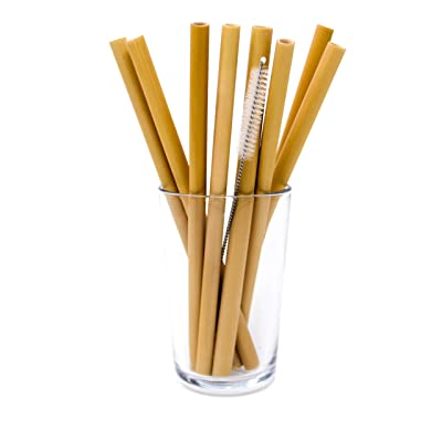 BULUH STRAWS - 8' ORGANIC BAMBOO DRINKING STRAWS | REUSABLE | ECO FRIENDLY | BPA-FREE BIODEGRADABLE NATURAL ALTERNATIVE TO PLASTIC, GLASS AND STAINLESS STEEL | SET OF 8, CLEANING BRUSH AND CUSTOM BAG