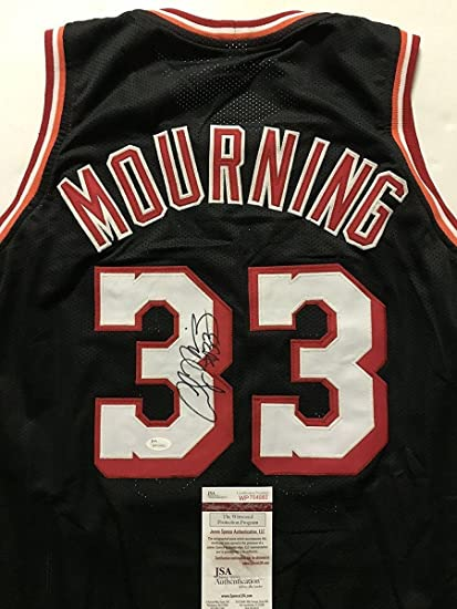 c0a962188a6 Image Unavailable. Image not available for. Color: Signed Alonzo Mourning  Jersey - Black COA - JSA Certified - Autographed NBA Jerseys