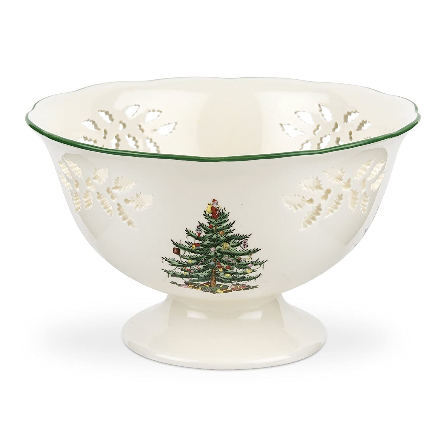 Spode Christmas Tree Pierced Footed Compote 1497788