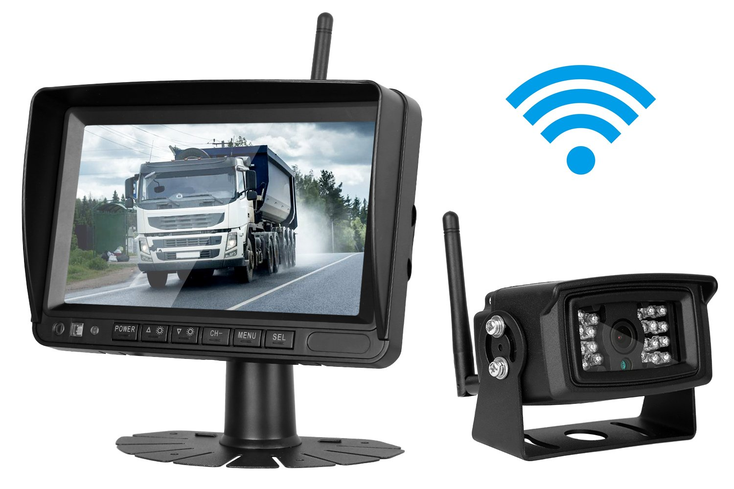 iStrong Digital Wireless Built-in Backup Camera and 7'' Monitor System Kit Working Over 300 ft Stable Signals Grid Lines Optional Waterproof Night Vision for Trailer/RV/Trucks/Motorhome/Boat