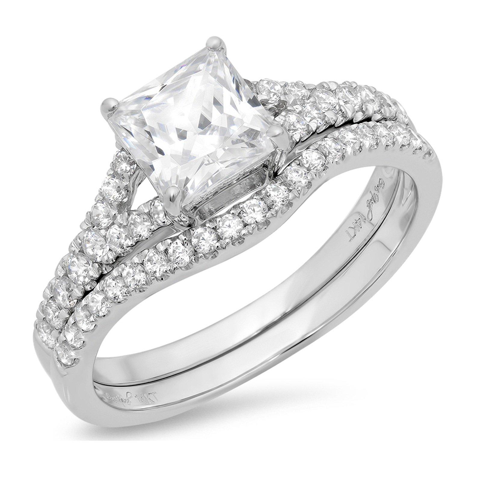 Clara Pucci 1.91 CT Princess Cut CZ Pave Halo Bridal Engagement Wedding Ring Band Set 14k White Gold, Size 8.5