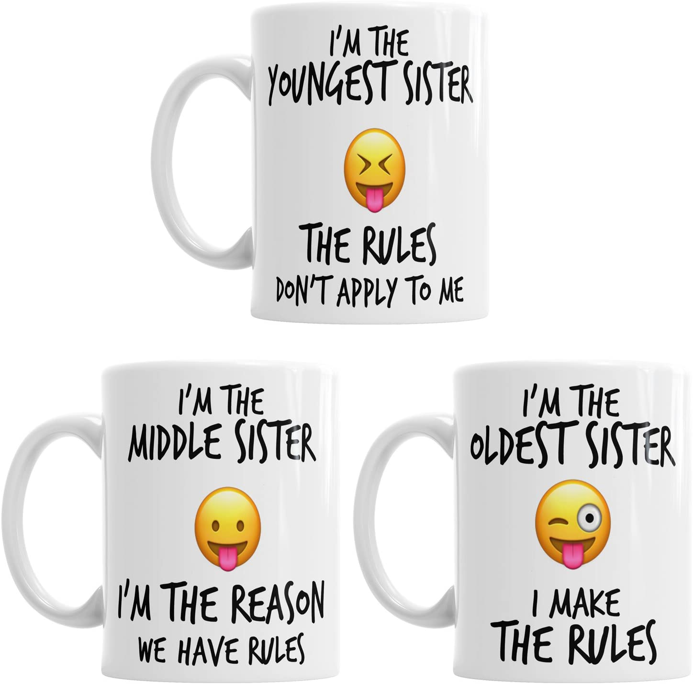 pi/ù Giovane Medio Oldest Child Sisters Norme Funny Coffee Mug Tea Cup Gift