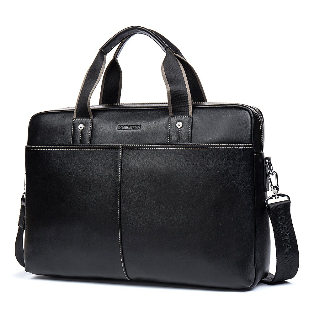 BOSTANTEN Leather Briefcase Lawyers Messenger Shoulder Laptop Business Bags for Men Black