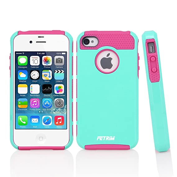 super popular 8bfbb f8bdb iPhone 4 Case,Apple iPhone 4S Case,Fetrim Slim Fit Heavy Duty Protection  Case Dual Layer Hybrid Bumper Impact Protection Shockproof Hard Ultra ...