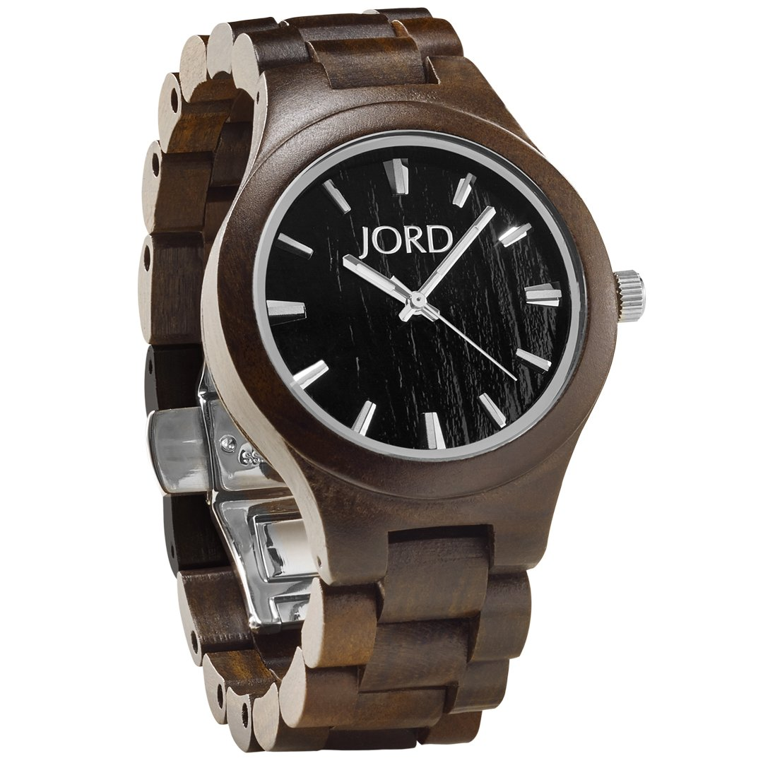 JORD Wooden Wrist Watches for Men or Women - Fieldcrest Series / Wood Watch Band / Wood Bezel / Analog Quartz Movement - Includes Wood Watch Box (Dark Sandalwood & Jet Black) by Jord