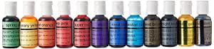 U.S. Cake Supply by Chefmaster Airbrush Cake Color Set - The 12 Most Popular Colors in 0.7 fl. oz. (20ml) Bottles Made in the USA