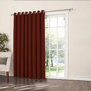 """Sun Zero Barrow Energy Efficient Patio Door Curtain Panel, 100"""" x 84"""", Paprika Red"""
