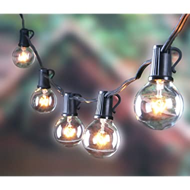 25FT Outdoor G40 Globe String Lights, Vintage Backyard Patio Lights with 25 Clear Bulbs, for Indoor/Outdoor Use, Globe Hanging Light String for Wedding Party Bistro Cafe Deck Pergola Decor
