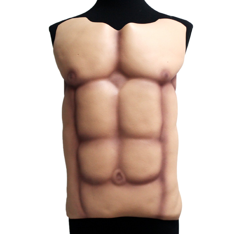 Moxeay Halloween Fake Muscle Chest Skin Eva Foam Fancy Cosplay Costume, muscle man