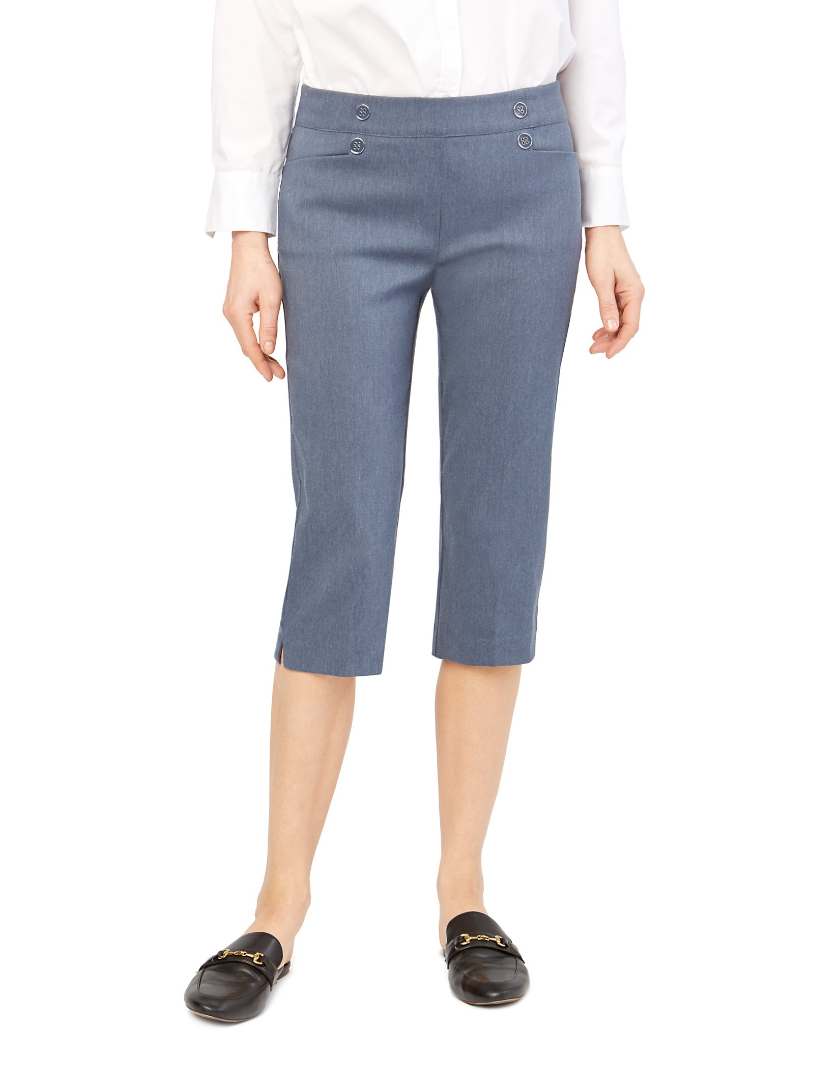 89th & Madison Women's Button Front Easy Fit Capri, Indochine Blue, X-Large