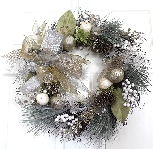 Amazon Com Premium Decor Holiday Door Christmas Wreath Silver Gold