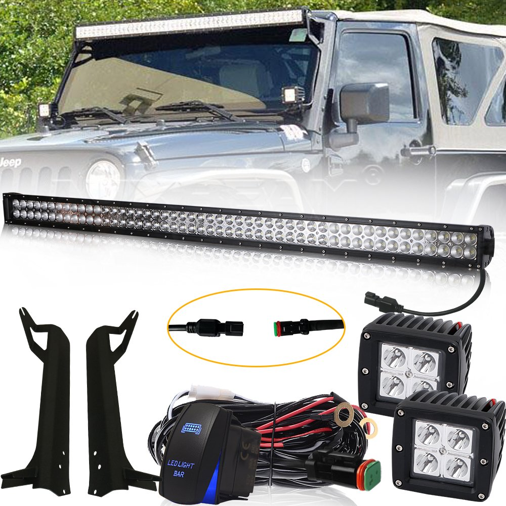 4XBEAM 50 Inch Led Light Bar 288W 24000LM Spot Flood Combo Work Light Off Road Lights Driving Lights + 4' Led Cube Light + Rocker Switch DT Wiring Harness Kit For 1999-2006 Jeep Wrangler TJ