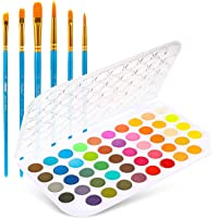 Fundamentals Watercolor Artist Set, Ohuhu 48-Color Watercolor Pan Set Vibrant Water-Color Cakes, with a Variety of 6…