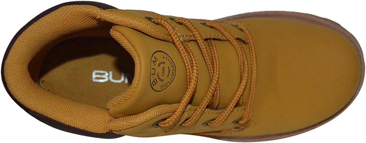 Tan Kids Classic Construction Boot Design Lace-up Boots