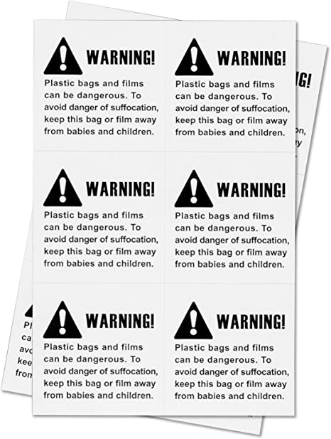 100 Pre-Cut Labels 2 x 2 Suffocation Warning FBA approved Labels//Stickers