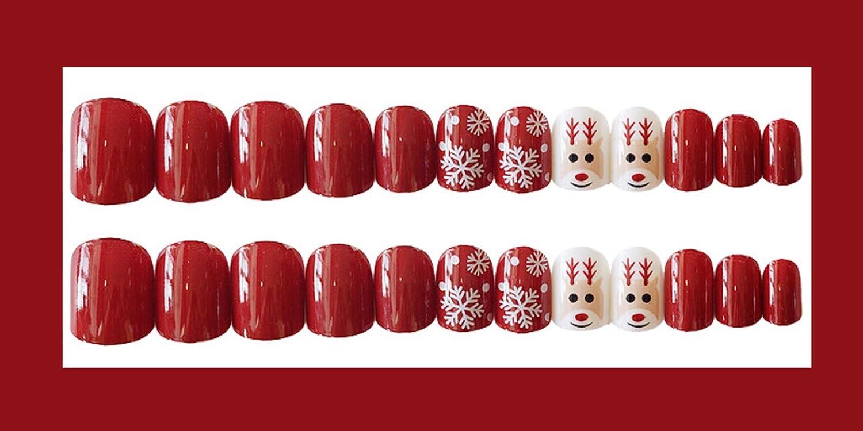 Mimei Uñas Postizas Rojas con Papá Noel, Uñas Postizas Navidad para Mujeres sin Pegamento: Amazon.es: Belleza