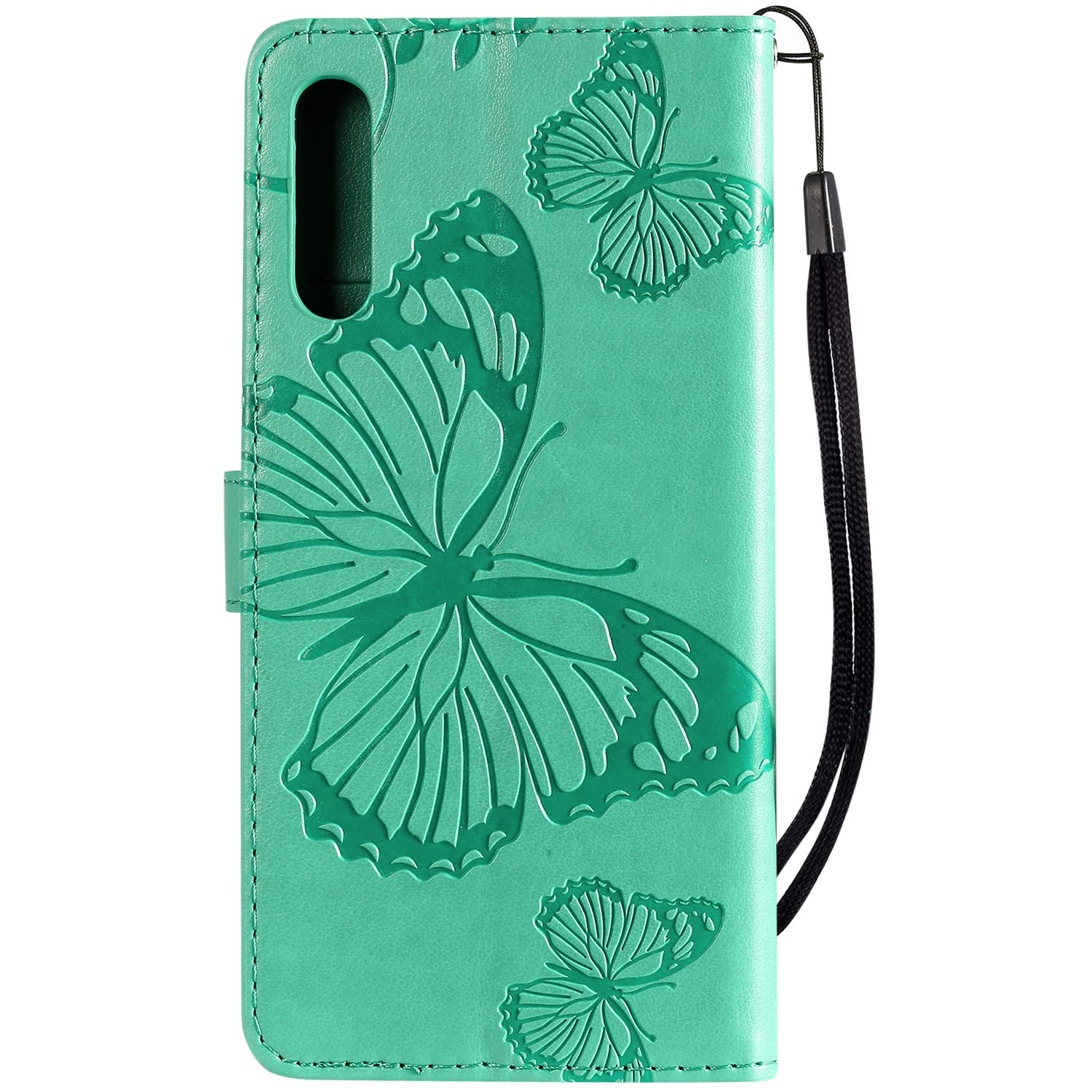 IKASEFU Compatible with Samsung Galaxy A50//A30S//A50S Case Emboss butterfly Pu Leather Wallet Strap Card Slots Shockproof Magnetic Stand Support Folio Flip Book Cover Protective Case,blue