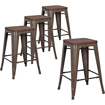 Amazon Com Lch Metal Industrial Counter Height Bar Stools