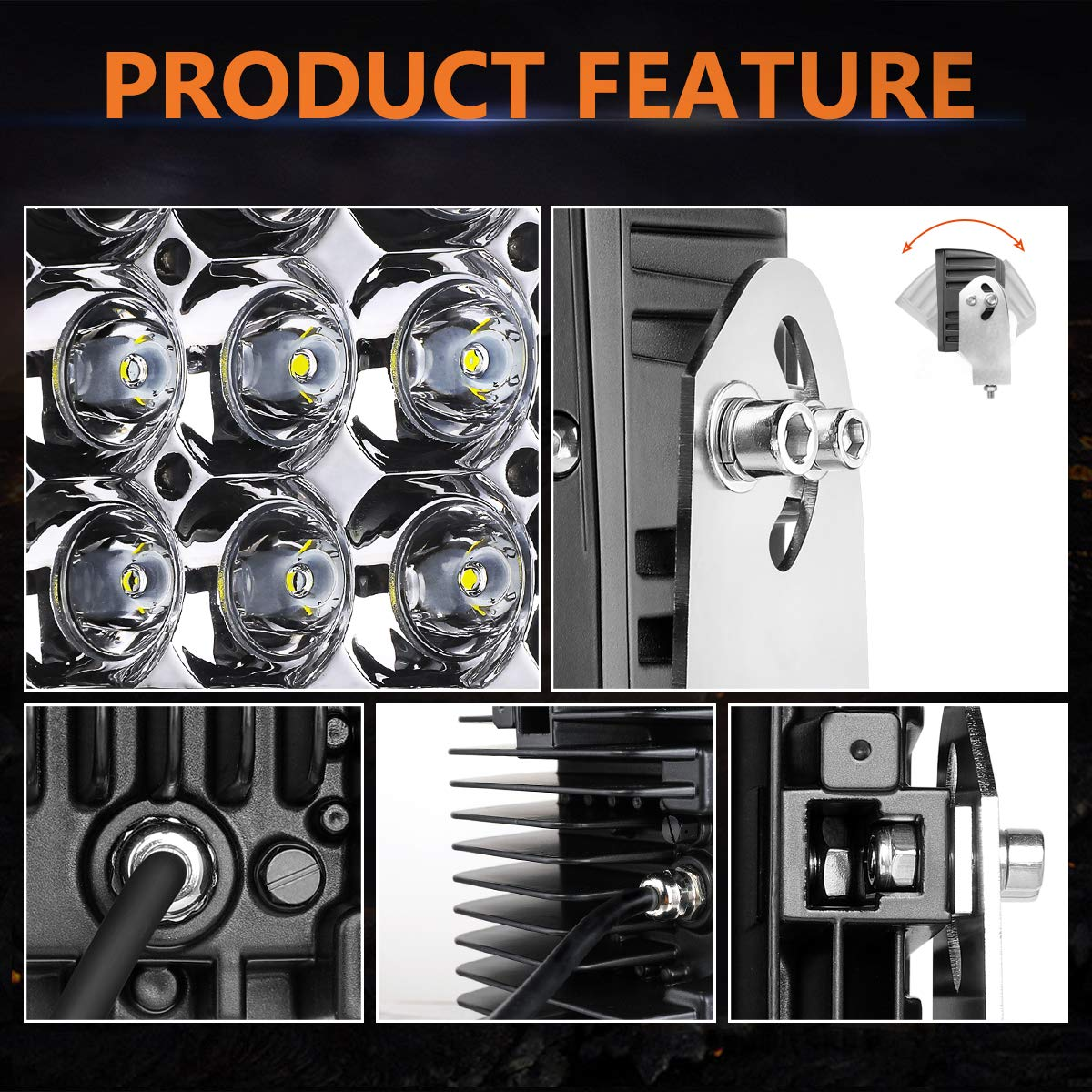 2 Years Warranty Dual Side Shooter LED Lights Swatow Industries 2PCS 240W Osram 5 Inch LED Pod Lights Quad Row LED Fog Lights Off Road LED Cube Lights for Truck Tractor SUV ATV UTV Motorcycle Boat