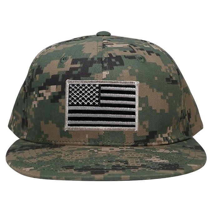 eb293d6c5 Armycrew Flat Bill Digital Camo American Flag Patch Snapback Cap ...