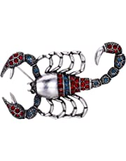 Clearine Women's Lovely Cute Crystal Scorpion Enamel Brooch Pin Red/Blue Antique-Silver-Tone