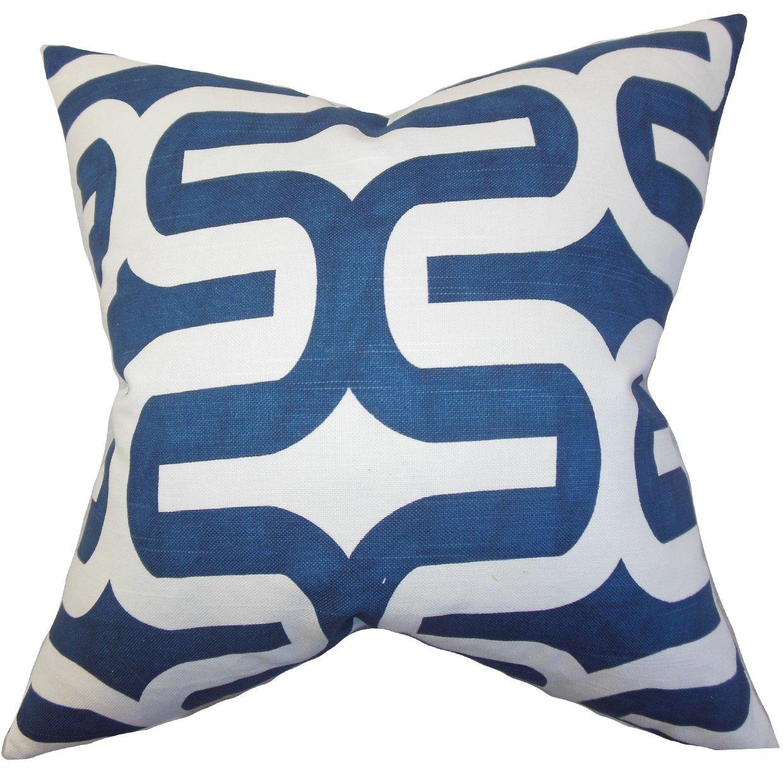 The Pillow Collection Jaslene Geometric Bedding Sham Navy Blue Queen//20 x 30